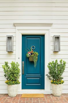 Front And Entry Doors For Your House – The Homeward View Teal Front Doors, Teal Door, Front Door Paint Colors, Painted Front Doors, Turquoise Door, House Color Schemes, House Colors, Exterior Doors, Entry Doors