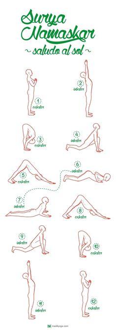 Surya Namaskar, el saludo al sol . - Surya Namaskar, el saludo al sol - Yoga Flow, Yoga Bewegungen, Sup Yoga, Yoga Moves, Yoga Meditation, Yoga Art, Yoga Exercises, Vinyasa Yoga, Scoliosis Exercises
