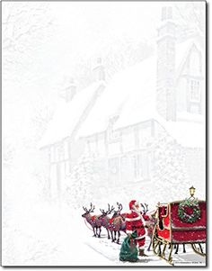 Sleigh Holiday Letterhead is perfect for your Christmas messages. This stationery paper features a colorful Santa with his reindeer and sleigh ove. Christmas Messages, Christmas Frames, Merry Christmas To All, Christmas Letterhead, Christmas Stationery, Christmas Scrapbook Paper, Christmas Paper, Christmas Cards, Reindeer And Sleigh