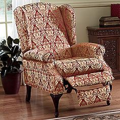 patterned wingback recliner