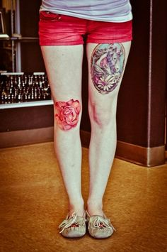 I love the placement of these tattoos! Rose knee tattoo /// holy shite! I wouldn't do it, but it is fantastic.