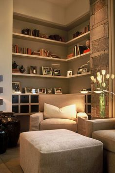 "I really like this corner built-in. With an oversized ""Barnes & Noble"" chair...great for home office/den"