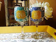 personalized wine glass kookie www.southerncharmembroidery.com