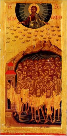 The 40 Martyrs of Sebaste icon. Byzantine Icons, Byzantine Art, Religious Icons, Religious Art, Black Historical Figures, Christian Artwork, Religious Paintings, Queer Art, Best Icons