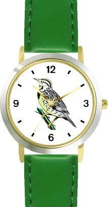 Western Meadowlark Bird Animal - WATCHBUDDY® DELUXE TWO-TONE THEME WATCH - Arabic Numbers - Green Leather Strap-Size-Children's Size-Small ( Boy's Size & Girl's Size ) WatchBuddy. $49.95. Save 38%!
