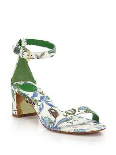 Tory Burch - Cecile Leather Mid-Heel Sandals - Saks.com