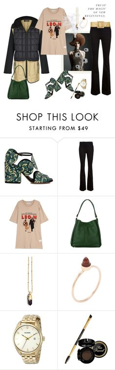 """""""A thrilling weekend to all you beautiful ladies!🍾🍾🍾"""" by juliabachmann ❤ liked on Polyvore featuring Dries Van Noten, Frame Denim, Onna Ehrlich, Kasun, Jacquie Aiche, Nixon and Yves Saint Laurent"""