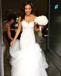 Lazaro bride wearing Style 3415 in Ivory