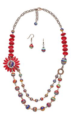 Jewelry Design - Double-Strand Necklace and Earring Set with Resin Beads and Czech Pressed Glass Beads - Fire Mountain Gems and Beads