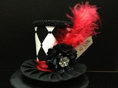 Black White and Red Mad Hatter Mini Top Hat. by daisyleedesign