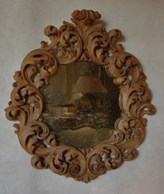 Baroque Italian Walnut MIrror 100 cm x 93 cm L's pick available via Garnier (be) as seen on linenandlavender.net