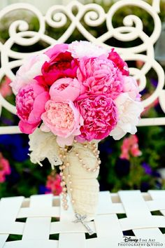 Bridal bouquet of peonies in shades of pink and white
