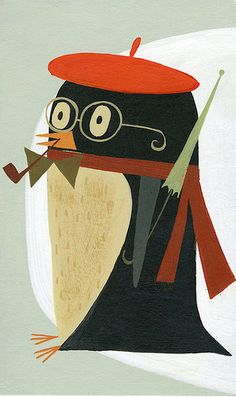 Penguin.  Limited edition 8.5 x 11 print by Matte Stephens.. 35 bucks, via Etsy.