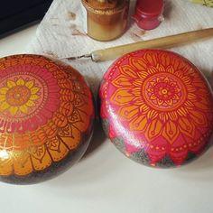 Finished up a custom order. Really fun, loves these color combos. #rocking.j #etsyorder #customorder #paintedstone #paintedstones #paintedrock #paintedrocks #mandalaart #mandala #mandalarock
