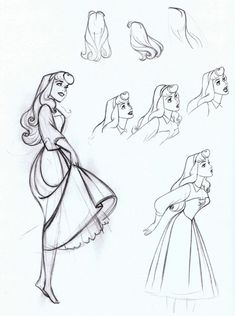 concept art. Sleeping Beauty. Aurora is probably my favorite princess just because of the way she was animated.