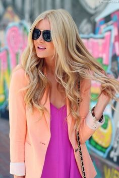 Fruity Colors fashion pink peach blonde hair fashion photography