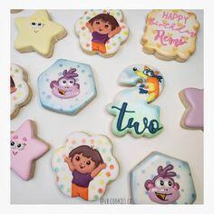 Dora the Explorer Cookies Dora The Explorer, Birthday Cookies, Decorated Cookies, Cookie Decorating, Sugar, Desserts, Food, Tailgate Desserts, Deserts