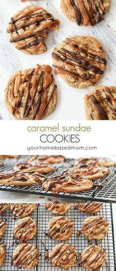 Caramel Sundae Cookies Recipe - these are an amazing combo of chocolate, toffee and caramel. You won't even miss the ice cream. #caramelcookies #cookies  #falldesserts