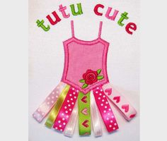 Tutu Cute Applique Machine Embroidery  Design
