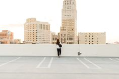 Thuy from lifestyle blog, Dress Up, Chow Down on a rooftop in Downtown Detroit.