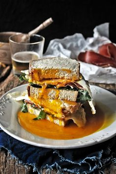 Goose egg, ham and arugula sandwich
