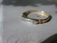 Art Deco Diamond Wedding Band 14k two tone by LuceesTreasureChest