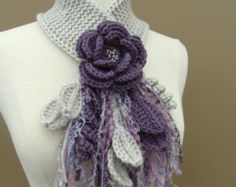 Diy Crafts - Lavender Flower Scarflette by gsakowskidesigns on Etsy Crochet Flower Scarf, Freeform Crochet, Love Crochet, Crochet Scarves, Beautiful Crochet, Crochet Shawl, Crochet Clothes, Crochet Flowers, Crochet Lace