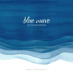 Watercolor background with blue waves Free Vector