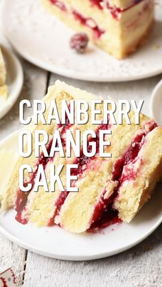 Cranberry Orange Cake with White Chocolate Frosting is the perfect cake for the upcoming Holiday season. Soft orange cake layers filled with homemade cranberry jam and frosted with white chocolate buttercream. Just Desserts, Delicious Desserts, Dessert Recipes, Jewish Desserts, Layer Cake Recipes, Best Cake Recipes, Asian Desserts, Layer Cakes, Christmas Desserts