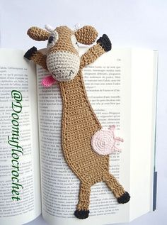 Funny crocheted cow bookmark