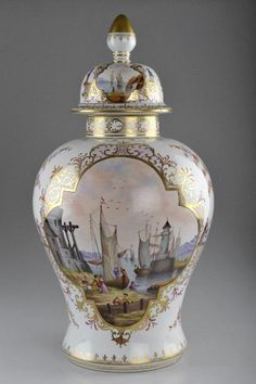 Sächsische Porzellanfabrik zu Potschappel, Carl Thieme - Deckelvase, um 1890 Urn Vase, Vases, Porcelain Vase, Fine Porcelain, Glass Ceramic, Ceramic Pottery, Decoration, Art Decor, Japanese Porcelain