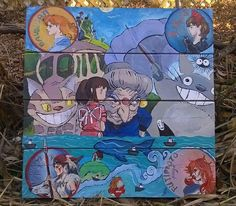 #RecyclingWoodPallets, #WallArt I used pallets as another amazing, and economical media that I enjoy painting on. I hand-painted this Japanese Pallet Art piece. My inspiration was Japanese Filmmaker Hayao Miyazaki's animated films. It is an amazing example of pallets as an