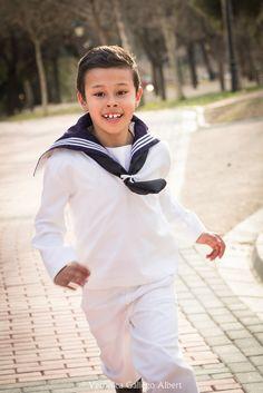 Comunión, niño, alegría, correr, fotografia, parque