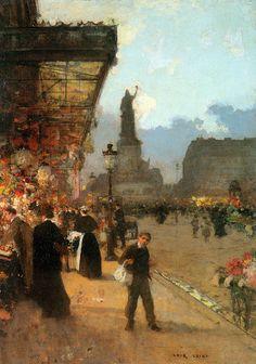 La Place de la Republique, Paris by Luigi Loir, Oil on canvas