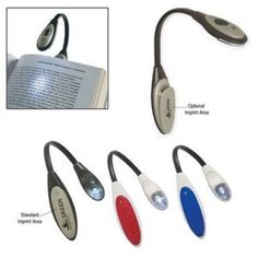 """Promotional Custom Printed Bendable Book Light  Extra Bright White LED Light. Button Cell Batteries Included. Clips On Book. Slide Switch To Turn On/Off. 1 1/4"""" W x 10"""" H  Easily add your logo to custom printed Book / Reading Light and other imprinted promotional Auto / Home / Tools materials to meet your marketing and advertising needs. Buy imprinted merchandise in bulk and show off your brand!"""