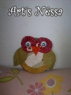 Art's Nêssa - Artesanato: Coruja feita com fuxico