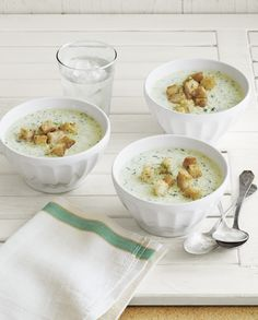 Cool and refreshing, this soup gets its creaminess from healthy Greek yogurt.  Recipe: Chilled Cucumber Soup   - CountryLiving.com