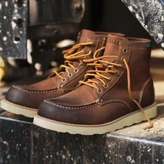 Our handcrafted classic moc toe workman's boot is packed with authentic character that looks and feels broken in, right out of the box