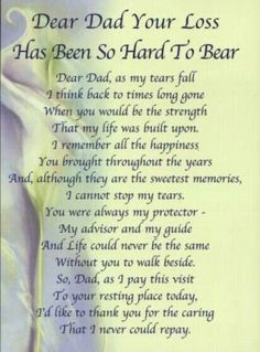 Your loss has been so hard for me Dad, I didn't want you to go. I miss you, xox ~~~