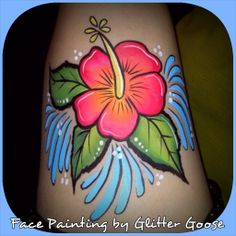 Hibiscus body painting by Glitter Goose! Face paint painter hawaii hawaiian tropical flower one stroke.