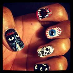 Santigold's nails by Sophie at The Illustrated Nail. UhhhMAZE.
