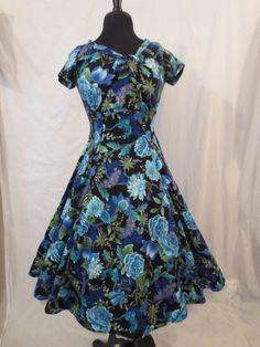 HEART OF HAUTE Beverly Dress - Garden Royale - $29.99 at JOHNNY BOMBSHELL #retro #rockabilly #fullskirt #blue #heartofhaute