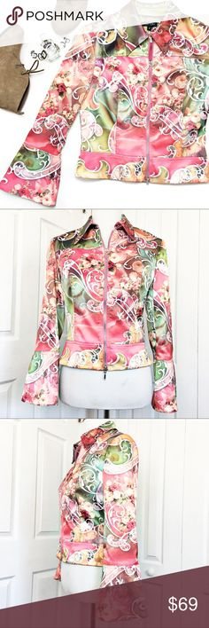"""Boho Chic Floral Satin Jacket This jacket is simply amazing.  Floral satin jacket with zippered front and zippered bell sleeves.  So feminine and """"Chic"""".  Excellent condition.  Material tag has been listed.   Measurements laid flat:  bust:  18"""" waist:  15"""" Bottom: 16.5"""" length from top of shoulder to hem:  21"""" *Measurements are approximate. Boho Chic Jackets & Coats"""