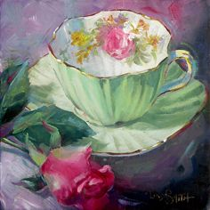 Who Loves Roses? by Linda Smith Oil ~ 8 x 8 Realistic Paintings, Small Paintings, Tea Cup Art, Tea Cups, Teacup Flowers, Cafe Art, Victorian Art, Still Life Art, Fruit Art
