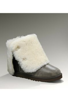 UGG Women's Sheepskin Bailey Button Triplet Dark Gray Tall Bomber Boots