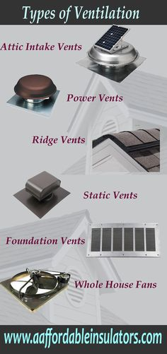 Types of attic ventilation to keep attics cool in the summer and dry in the winter.