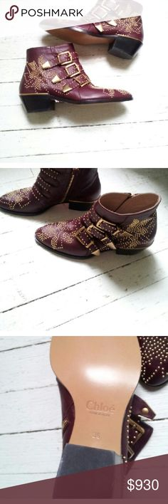 "NEW Chloe Susanna Studded Boots SZ: 36 (6) Brand New Never Worn!  Chloe Susanna Studded Boots size 36 (6) in Bordeaux (burgundy)  features gold studs/ hardware throughout these iconic boots.   Three strap buckle w/ side zip closure.  Heel approx. 2"" Chloe Shoes Ankle Boots & Booties"