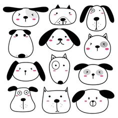 Wall decal dogs, wall decal dogs with cute faces, wall stickers dogs, wall decal animals, wall decal Dog Face Drawing, Dog Drawing Simple, Dog Drawing For Kids, Cute Dog Drawing, Drawing Drawing, Animal Drawings, Cute Drawings, Easy Drawings Of Animals, Doodle Art