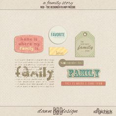 Quality DigiScrap Freebies: A Family Story word art freebie from Dawn By Design