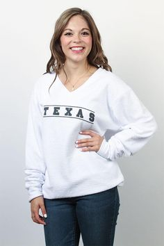 "Impress your friends and stay warm in this unique woolly contemporary preppy fleece. This Venley v-neck sweatshirt features the word ""TEXAS"" at the front in a minimalist elegant design. Each Venley garment is treated individually making each one of a kind.  Made of 100% Cotton."